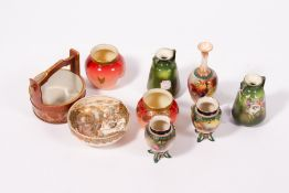 A COLLECTION OF NINE PIECES OF DECORATIVE CERAMICS to include a pair of small Hadley's Worcester
