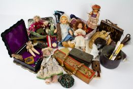 A MIXED LOT to include a collection of antique lace bobbins, some named and dated, a collection of