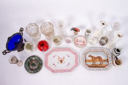 A COLLECTION OF CHINA AND GLASS to include a pair of antique glass candlesticks with rope turned