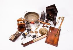 MISCELLANEOUS ITEMS to include a Continental wall clock, two sets of scales, silver plated
