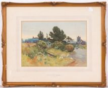 GEORGE F NICHOLLS (1885-1937) A country lane with ducks, watercolour, 23cm x 33cm, framed and