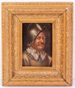 A PORTRAIT OF A 16TH CENTURY SOLDIER with iron helmet, oil on panel, unsigned, set within a gilt