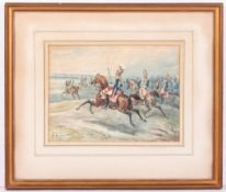 CHARLES DE LUNA French Calvary Carabiniers deploying to charge, watercolour, signed lower left and