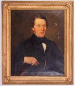 19TH CENTURY ENGLISH SCHOOL half length portrait of a gentleman seated in a chair, oil on canvas,