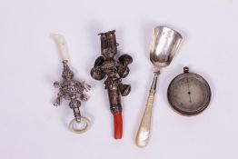A SILVER AND MOTHER OF PEARL BABY'S RATTLE by Crisford & Norris Limited, with marks for Birmingham