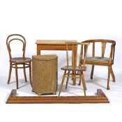 A SMALL GROUP OF OCCASIONAL FURNITURE consisting of a bentwood chair; a horseshoe shaped desk chair;