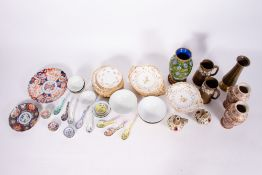 A COLLECTION OF CHINA to include a part crescent service, two Fischer Budapest pottery vases, an