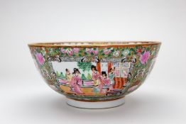A CHINESE CANTON FAMILLE VERTE PORCELAIN BOWL 25.5cm diameter x 12cm high Condition: small chip to