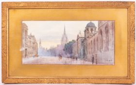 LATE VICTORIAN VIEW OF THE HIGH STREET, OXFORD watercolour, initialled PEB and dated 1899, 16.5cm