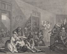 AFTER WILLIAM HOGARTH A Rakes Progress (plate 8), 19th century engraving, 38cm x 41cm, framed and