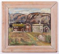 AFTER KYFFIN WILLIAMS Houses beneath the hills, oil on board, indistinctly signed upper right and