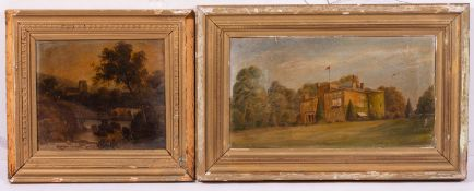 A MIXED GROUP OF PICTURES AND PRINTS to include an antique oil depicting cows and a church in the