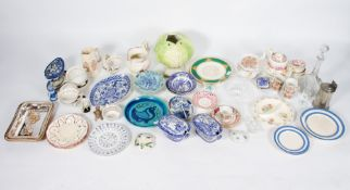 A MIXED COLLECTION OF CHINA AND GLASSWARE to include Victorian luster ware, 19th century blue and