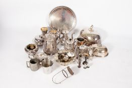 A COLLECTION OF VICTORIAN AND LATER SILVER PLATED WARES to include a Walker & Hall hot water jug,