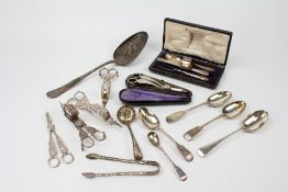 A COLLECTION OF 19TH CENTURY PLATED CUTLERY AND GRAPE SCISSORS to include a large ladle; a
