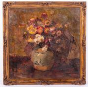 E JORIS (EARLY 20TH CENTURY SCHOOL) Still life of flowers in a ginger jar, oil on canvas, signed