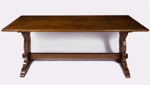 A 20TH CENTURY OAK RECTANGULAR REFECTORY TABLE 198cm wide x 79cm deep x 74cm high Condition: minor