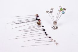 A COLLECTION OF HAT PINS to include four Charles Horner examples together with a Chester silver