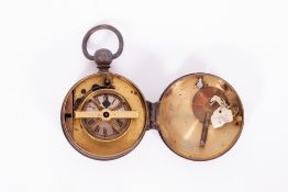 AN ANTIQUE BRASS CASED NIGHT WATCHMAN'S CLOCK with a case key and winding key and loop suspension,