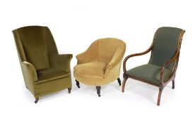 A SMALL SIZE LOW GREEN DRAYLON UPHOLSTERED WING BACK ARMCHAIR 68cm wide x 90cm high together with