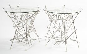 FRATELLI CAMPANA FOR ALESSI a pair of 'Blow-Up' occasional tables, steel and glass, stamped beneath,