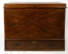 A 19TH CENTURY POSSIBLY RUSSIAN SCUMBLE DECORATED MULE CHEST with candle box within the lifting