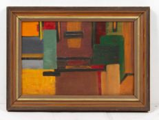 HEATH (20TH CENTURY SCHOOL) geometric abstract in colours, acrylic on canvas board, scratched