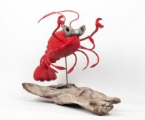 MARTIN SCOREY (b.1961) Lobster, painted carved wood and metal on a naturalistic base, signed, titled