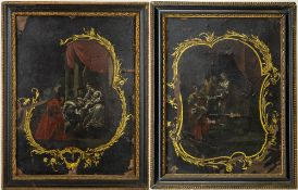 A PAIR OF 18TH CENTURY DEVOTIONAL LACQUERED PANELS mounted on copper and set within antique