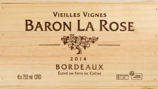 SIX BOTTLES OF BARON LA ROSE 2014 VIELLE VIGNES BORDEAUX OWC At present, there is no condition