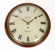 A 19TH CENTURY MAHOGANY DIAL CLOCK with cast bezel, the roman dial signed 'P Birkley, Newport' and