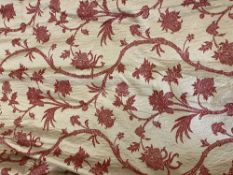 A PAIR OF LARGE BEIGE OR LIGHT GOLD GROUND SILK AND LINED CURTAINS with red embroidered exotic