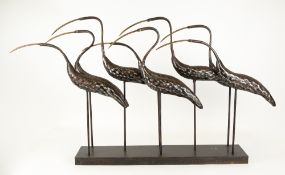 A CONTEMPORARY STEEL SCULPTURE depicting eight egrets, 110cm in length x 15cm deep x 60cm high At
