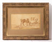 IN THE MANNER OF WOUTER VERSCHUUR cattle beside a river, sepia watercolour, unsigned, 23cm x 43cm