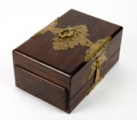 A 19TH CENTURY ROSEWOOD CIGAR BOX with brass mounts, sectional compartment above two cigar trays,