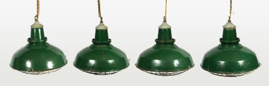 A SET OF FOUR GREEN AND WHITE ENAMELLED INDUSTRIAL HANGING LIGHT FITTINGS each 45cm diameter x