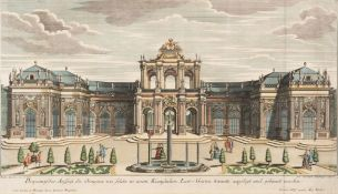 AN ANTIQUE HAND COLOURED ENGRAVING DEPICTING AN ORANGERY after a design by Paul Decker and