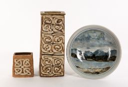 A HIGHLAND POTTERY STONEWARE DISH decorated with Scottish scenery, with pottery mark to the reverse,