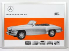 A DECORATIVE REPRODUCTION OF A MERCEDES-BENZ ADVERTISING POSTER for 190SL automobile, produced in