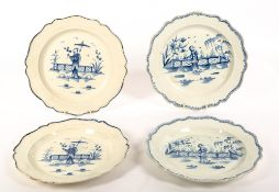 A PAIR OF 18TH CENTURY PEARLWARE PLATES OF SILVER FORM decorated in cobalt blue with an Oriental
