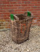 A GRAPE PICKERS BASKET with looping green painted handles, 51cm wide x 71cm high Condition: in