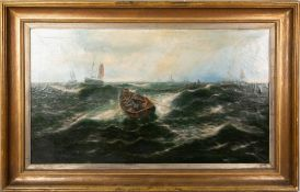 THOMAS ROSE MILES (1844-1916) Sailors rowing in a strong swell, oil on canvas, 75.5cm x 133cm