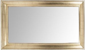 A LARGE RECTANGULAR WALL MIRROR with bevelled glass and a silvered moulded frame, 93cm x 174cm At