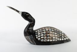 CHRIS HINDLEY (21ST CENTURY SCHOOL) Northern Diver (Common Loon), carved and painted wood, 49cm long