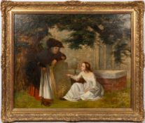 19TH CENTURY ENGLISH SCHOOL a young girl and her grandmother studying a gravestone in a