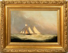 EDOUARD ADAMS (1847-1929) Barque in rough seas, oil on canvas, signed lower right, 39.5cm x 58.