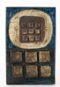A TROIKA POTTERY CALCULATOR PLAQUE marked 'Troika St Ives' to the reverse, 19.5cm wide x 30.5cm high