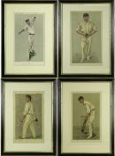 A GROUP OF FOUR VANITY FAIR CRICKETING PRINTS by Spy and others to include 'A Flanelled Fighter',