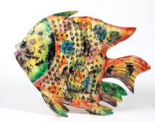 A LARGE HANGING PIERCED TIN PAINTED FISH CANDLE HOLDER with access door to the side, 107cm wide x