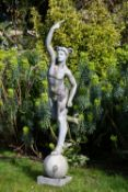 A CAST LEAD SCULPTURE OF MERCURY after Giambologna, 124cm high Condition: weathered condition